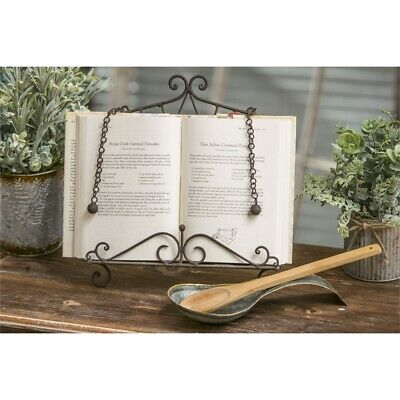 Metal Scroll Cookbook Holder Stand with Weights