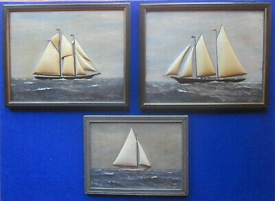 Lot of 3 original and unique carved wood and oil painted ship paintings. folk