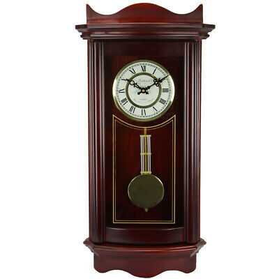 New Bedford Clock Collection Weathered Chocolate Cherry Wood 25 Inch Wall Clock