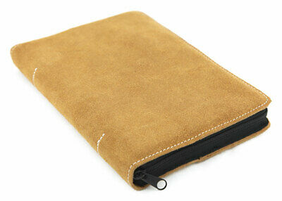 """Suede Leather Compact Small LDS Triple Cover Case 4.25"""" x 6"""" in Mustard - NEW!"""