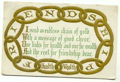 Endless Chain Of Gold Health Wealth Greetings c1910 Embossed Postcard