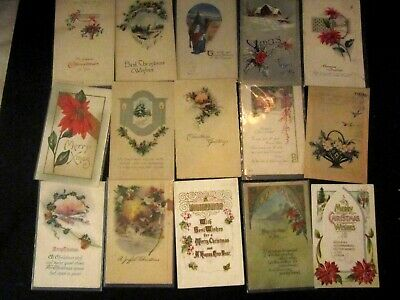 Vintage Antique lot of 15 Christmas Postcards. Early 1900s. Lot#1