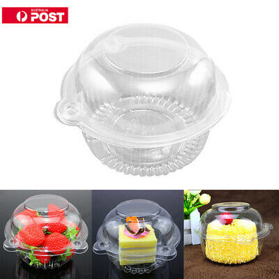 100x Individual Clear CupCake Boxes Plastic Single Muffin Case Domes Container