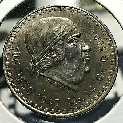 1948 Mexico Silver Pesos Brilliant Uncirculated Coin