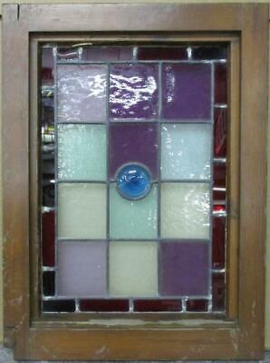 "VICTORIAN ENGLISH LEADED STAINED GLASS WINDOW Stunning Geometric 15.5"" x 21"""