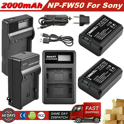 NP-FW50 Battery or LCD Dual Charger for Sony Alpha A6000 A6500 A6300 A5000 RX10