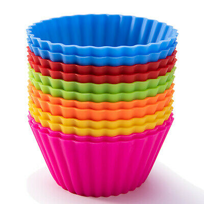 12 x Reusable Silicone Baking Cupcake Liners Muffin Cups Non-stick Standard Size