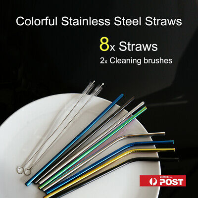 8 Colorful Stainless Steel Straws Metal Drinking Straw+2 Brushes/ Cleaning brush