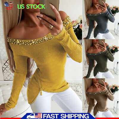US Women Sexy Off Shoulder Long Sleeve Shirt Ladies Casual Party Tops Blouse Tee