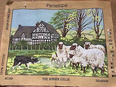 Penelope Vintage Printed Tapestry Canvas  The Border Collie Pc146