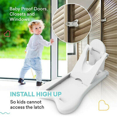 2Pcs Sliding Door Lock for Child Safety Baby Proof Doors & Closets Childproof