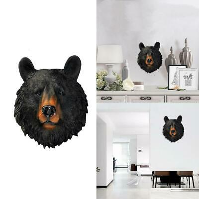Resin Sculpture Bear Ornament Animal Head Wall Hanging For Home Office Decor