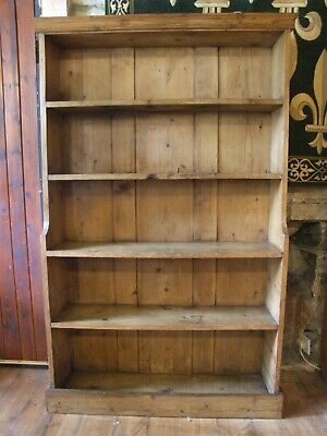 Original antique Victorian pine waterfall BOOKCASE 3ft wide by 5ft tall