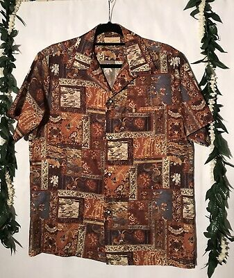 Vintage 60's  70's ROSS SUTHERLAND PATCHWORK PERSIAN RUGS HAWAIIAN SHIRT  #28