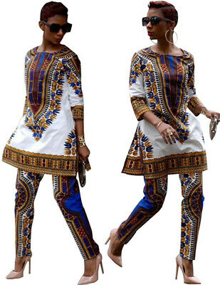 African Dashiki Hippie Tribal Dress Pants Top Outfit Casual Lady Women's Suits