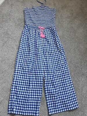 Girls M & S Jumpsuit Blue/White check aged 12-13 years