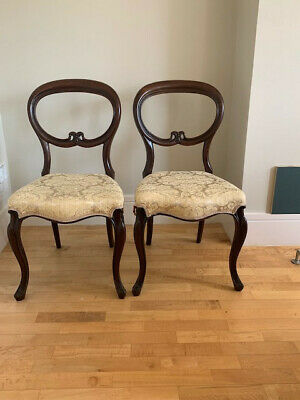 Pair of Antique Victorian Mahogany Balloon Back Dining Chairs