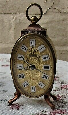 Vintage Mechanical Clock ~Goldbuhl West Germany Made ~Gold Baroque alarm wind up