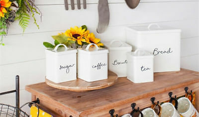 Farmhouse Kitchen Canisters White Metal Set Biscuits Sugar Tea Coffee Bread Box