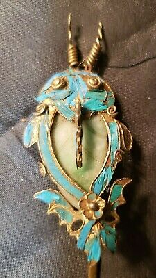 Antique Chinese Hair Ornament - Blue Kingfisher Feather / Jade Fish