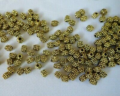 50 Antique Gold Coloured 4mmx3mm Spacer Beads #sp0112 Jewellery Making Craft