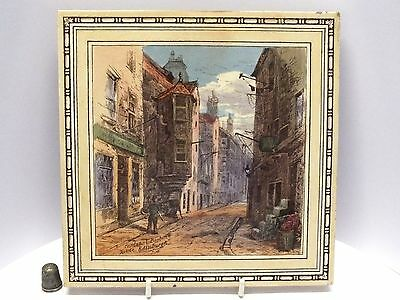 """Beautifully Coloured Minton 8"""" Tile of Cardinal Beaton's House by T.Swetnam 1885"""