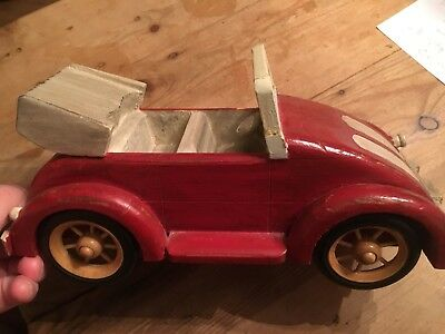Vintage Folk Art Solid Wood Beetle Convertible Car Red Punch Buggy White Stripes
