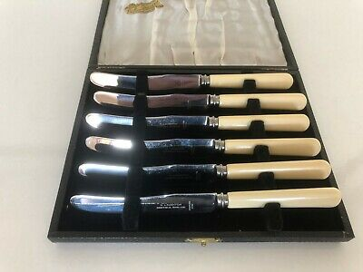 "Cased Set Of 6 Ivorine Handled Fruit Knives 7"" Long (H Laughton ) Fk X19"
