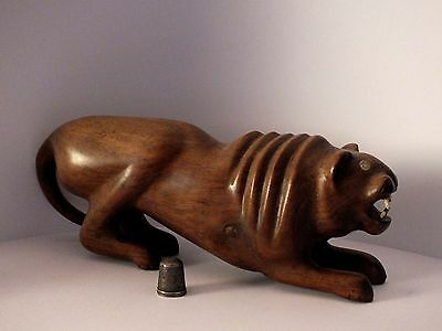 Early Handcarved Heavy Hardwood Tiger Figurine with Bone Teeth - Chinese/Indian?