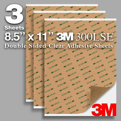 """Pack 3 Sheets 8.5""""x11"""" Clear Super Sticky Double Sided Adhesive 3M 300LSE 9495LE"""