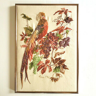 Crewel Framed Pheasant Bird on Tree Branch Signed Embroidery Linen Art