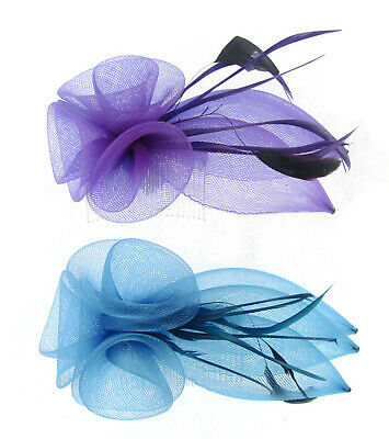 Coiled Mesh Flowers and Feathers Hair Comb Bridal Fascinator Races