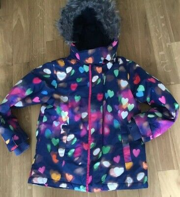 Next Girl's Fleece Lined Winter Coat With Faux Fur Trimmed Hood Age 7-8
