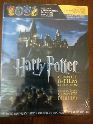 New Harry Potter: The Complete 8-Film Collection + 4 Iron-on Patches Blu-ray NEW