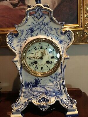 "GORGEOUS Antique TIFFANY French made ""Delft"" Porcelain Clock"