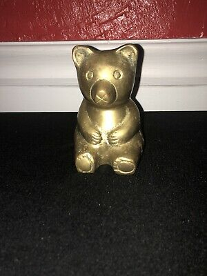 "Vintage Solid Brass TEDDY BEAR Figure Figurine 4.25"" tall Paper Weight Book End"
