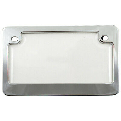 Chrome License Plate Tag Frame +Clear Shield Protector Cover for Motorcycle-Bike