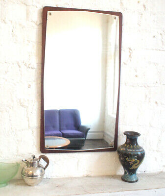 Antique 1970s Atomic Wall Mirror Large Big Teak Wood Edge Vintage Retro