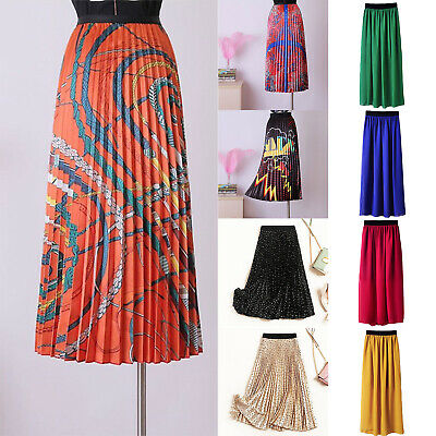 Women Print A-line Pleated Long Mid-calf Dress High Waist Casual Skirt Fashion