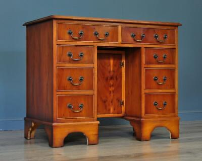 Small Vintage Yew Wood Twin Pedestal Leather Top Office Writing Computer Desk