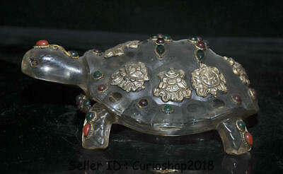 "6.8""Old Tibet Buddhism Crystal Silver 8 Auspicious Symbol Turtle Tortoise Statue"