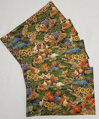 """Set of Six Cork Placemats w// Roosters by Kim Poloson 16""""x11"""""""