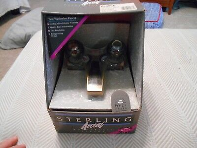 Sterling Accent Washerless Twin Handle Bathroom Faucet Antique Bronze NEW, NOS