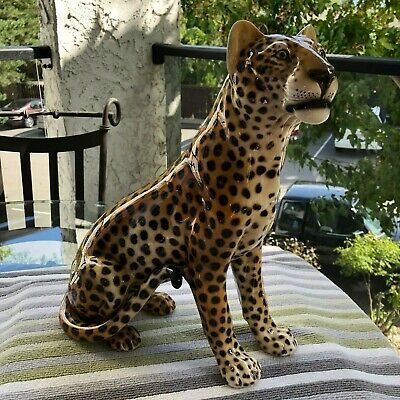 Mid Century Modern..ronzan 1211 Hand Painted..leopard..made In Italy