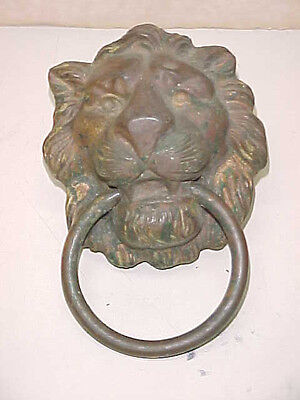 Vintage Old Antique Hardware Extra Large Solid Brass Lion's Head With Ring