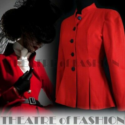 JACKET COAT VINTAGE TRAVILLA RIDING VICTORIAN MISTRESS 40s 50s RED VAMP TAILCOAT