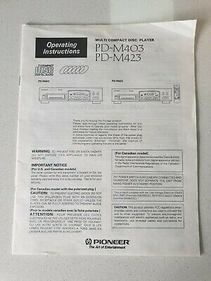 Pioneer Pd-M403 Pd-M423 Owner / Instruction Manual Original Factory Issue