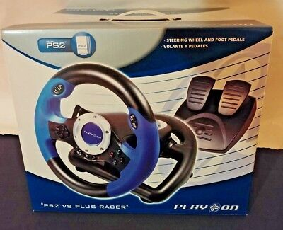PS2  V8 Plus Racer, Play On Steering Wheel with Foot Pedals for PlayStation 2 4E