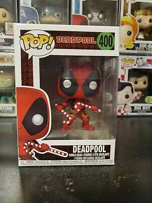 Funko Pop! Marvel Deadpool Candy Canes Holiday #400 Bobblehead WITH PROTECTOR!