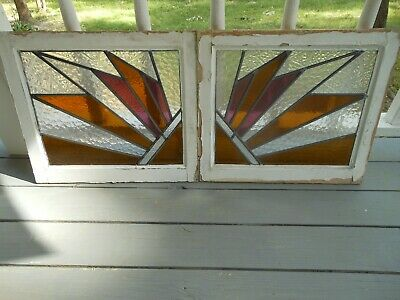 PLA-10 Pretty Art Deco Leaded Stained Glass Windows F/England 2 Windows 1 Price